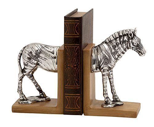 Antik-look-finish (Antik Silber Finish Zebra Top und Tail Holz Look Buchstütze 2er Set)