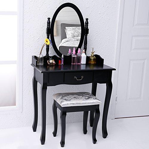 CCLIFE Schwarz Schminktisch mit Hocker Schwenkbar Spiegel, Farbe:Schwarz