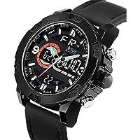 Kavyansi Fabulous Trend Brand Mens Leather Analogue Digital Dual Time Black YD-NF9097 Analog-Digital Watch - for Men (Black)