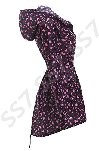 SS7 Femmes Imperméable Veste de pluie, Coeur Rose, Sizes 8 pour 22 Coeur Rose