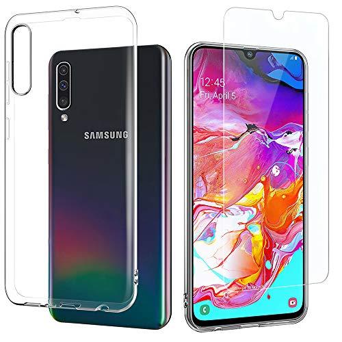 EasyAcc Hülle + Panzerglas für Samsung Galaxy A70, 9H Schutzfolie + Crystal Clear Case Transparent Handyhülle Cover Soft TPU Durchsichtige Schutzhülle Für Samsung Galaxy A70 Zubehör-soft Case