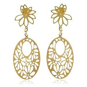 Gioiello Italiano - Orecchini in oro giallo 14kt con motivo a fiori