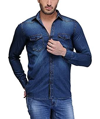 Feed Up Men s Denim Shirt  Amazon.in  Clothing   Accessories fa8e2a7b0
