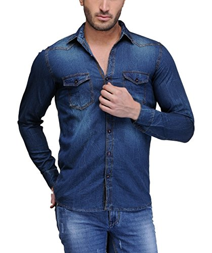 Feed Up Men's Denim Shirt (FeedUpSDenim001-L40_Blue_40)
