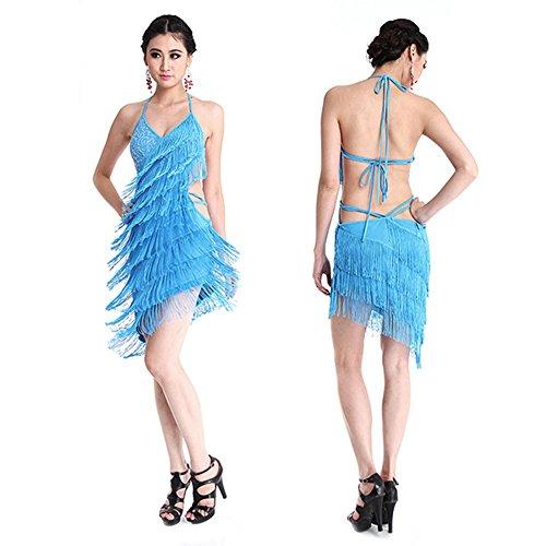 Latin Stoff Kostüm Dance Für - Sexy Damen Latin Dance Kleid Backless Fransen Halter Clubwear Hochwertige Quaste Fransen Latin Dance Kostüme für Frauen