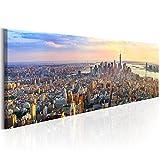 decomonkey Bilder New York 150x50 cm XXL 1 Teilig Leinwandbilder Bild auf Leinwand Vlies Wandbild Kunstdruck Wanddeko Wand Wohnzimmer Wanddekoration Deko Stadt City Architektur