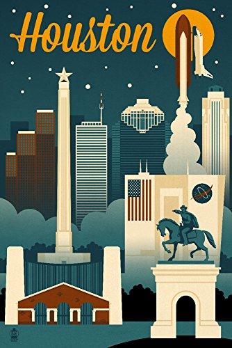 Houston, Texas-Retro Skyline, Papier, multi, 12 x 18 Art Print (Houston Artwork)