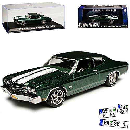 Greenlight Chevrolet Chevy Chevelle SS 396 Coupe Grün John Wick 2. Generation 1968-1972 1/43 Modell Auto - Chevelle Chevy 1968