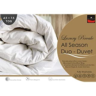Percale - Pure Luxury New All Seasons Duo Duvet / Quilts Set - 4.5 + 7.5 Tog (Double 200cm x 200cm)