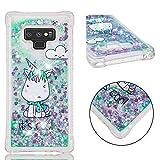 Samsung Galaxy Note 9 Hülle, YYX Galaxy Note 9 Handyhülle Bling Glitzer Glänzend Fließen Flüssig Pailletten Treibsand Silikon Klar TPU Bumper Back Cover- Einhorn