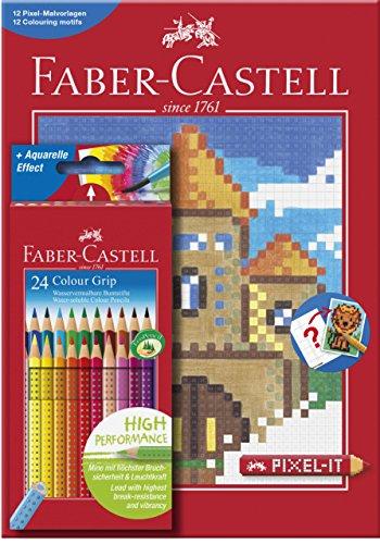 Preisvergleich Produktbild Faber-Castell 201436 - Buntstift Colour GRIP, 24er Etui inklusive PIXEL Buch