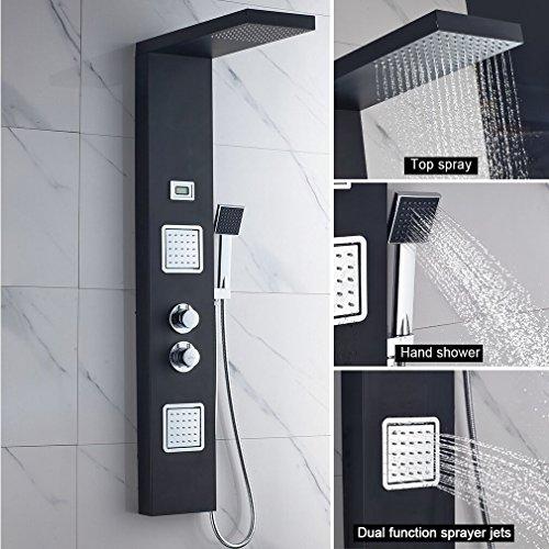 duschpaneel aufputz BONADE Funktional Thermostat Schwarz Edelstahl Duschpaneel mit Temperatur Dispaly Aufputz Wandhalterung Montage (Thermostat Duschpaneel)