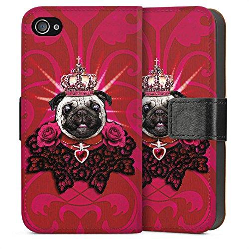 Apple iPhone 5s Housse Étui Protection Coque Chien Roi Carlin Sideflip Sac