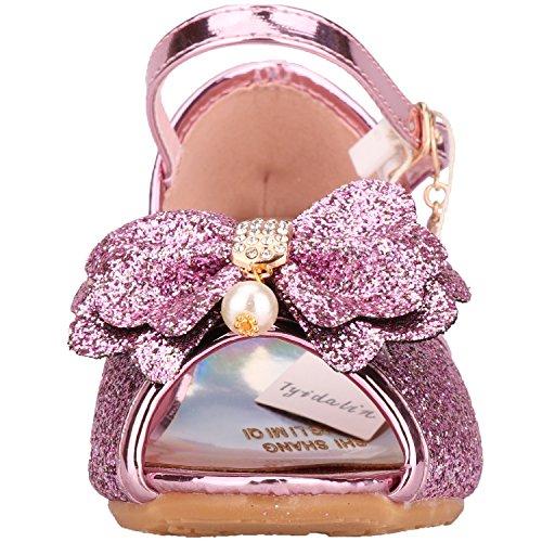 Scarpe Con Tacco Bambina Ragazza Principessa Ballerina Costume Sandali - Tyidalin Perline e Paillettes Eleganti Glitter Carnevale Cerimonia per Bambini 3 - 12 anni Rosa Blu Argento Oro EU25-36 Rosa