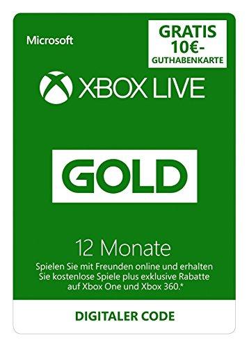 Xbox Live - Gold-Mitgliedschaft 12 Monate + 10 EUR Guthaben gratis für Xbox Store [Xbox Live Online Code]