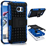 ONEFLOW Samsung Galaxy S7   Hülle Silikon Hard-Case Blau Outdoor Back-Cover Extrem Stoßfest Schutzhülle Grip Handyhülle für Samsung Galaxy S7 Case Rückseite Tasche