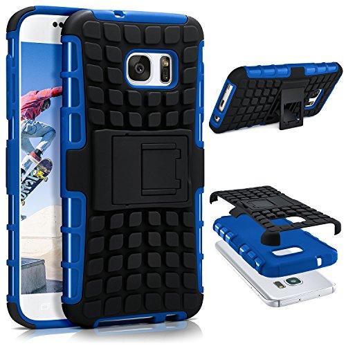 ONEFLOW Samsung Galaxy S7 | Hülle Silikon Hard-Case Blau Outdoor Back-Cover Extrem Stoßfest Schutzhülle Grip Handyhülle für Samsung Galaxy S7 Case Rückseite Tasche (Blau Back Case)