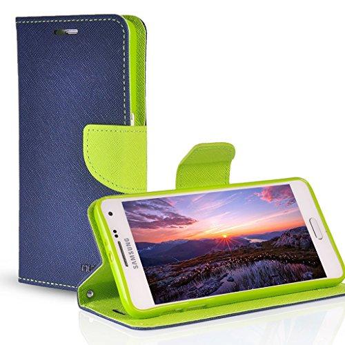 UKDANDANWEI Leder Tasche Flip Case Cover Wallet Case Classic Schutzhülle Etui Hülle Schale mit Standfunktion Für Samsung Galaxy Mega 6.3 I9200 Blau/Grün