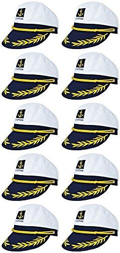 Erwachsene Für Sailor Captain Kostüm - Das Kostümland 10er-Set Kapitänsmütze zum Marine Kostüm - Größenverstellbare Matrosen Captain Mütze