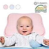 Luxamel | Orthopädisches Babykissen | Ergonomisches gegen Plattkopf und Verformung | Für Säuglinge und Kleinkinder | 100% Schadstofffrei | Pink