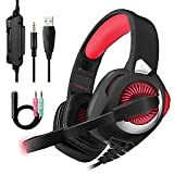 Gaming Headset für PS4,3.5mm Surround Sound mit Kabel Headset mit Mikrofon, Buntes LED-Licht, Gaming Kopfhörer Spiel Headset mit Mikrofon für PC Xbox One,Laptop, Mac, Tablet, PC, Smartphone (Rot)