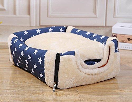 Hundehaus Hundehöhle mit Kissen, Stoff Weicher Bezug, Faltbar, Waschbar, für Kleine Hunde (M, Blau mit Stern dot) - 2