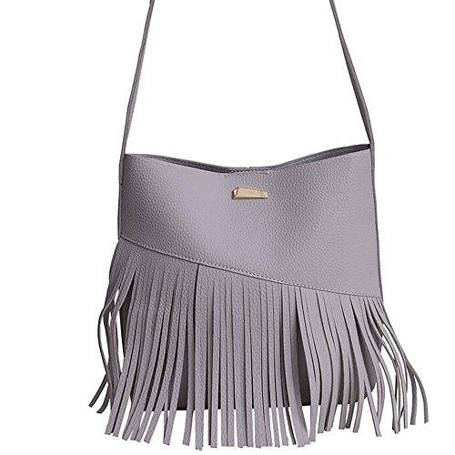 Kindoyo Fashion Ladies Borsa A Tracolla Con Frange Borsa A Tracolla Borsa A Tracolla Smerigliata Body Bag - Vino Rosso Grigio