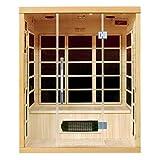 Artsauna Infrarotkabine/Wärmekabine Skagen 160 mit Flächenstrahlern & Hemlockholz | Infrarotsauna mit Glasfront für 3 Personen