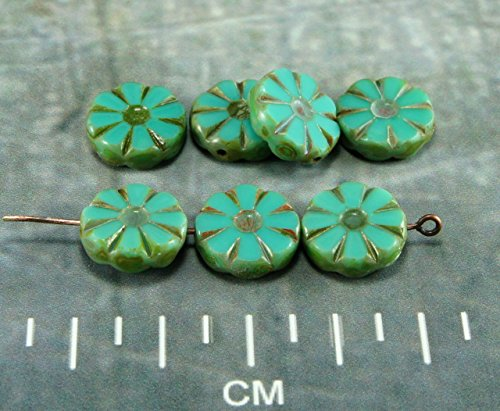 Picasso Verde Turchese Tabella di Fiori recisi Flat Coin ceca Perle di Vetro 12mm 8pcs