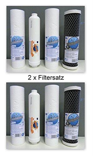 2 x Filtersatz für 5-stufige Umkehrosmose Wasserfilter 500 GPD / 300 GPD Osmose für 10 Zoll Standard Gehäuse
