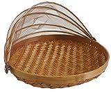 Obstschale inkl. Abdeckhaube Bambus L - 35cm, Schale / Korb aus Bambus geflochten, Schutz vor Insekten durch feines Moskitonetz, aus Bali/Indonesien, leicht, dekorativ und praktisch für...
