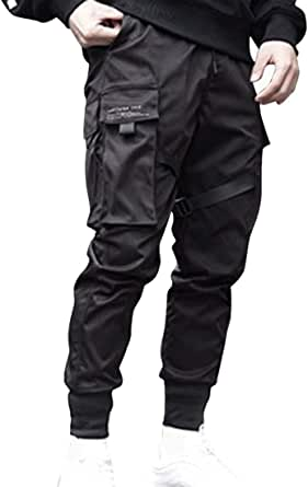 Litthing Men Jogger Pants Sweatpants Sport Men's Black Pocket Cargo Joggers Harajuku Sweatpant Hip Trousers Combat Trousers Streetwear Punk