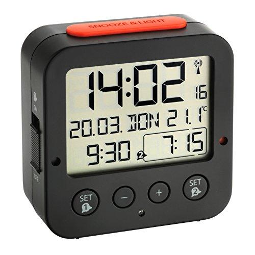 .01 BINGO Funk-Wecker Schwarz/rot mit autom. Hintergrundbeleuchtung, Datum, Temperaturanzeige und zwei Weckzeiten (Winter Home Decor)