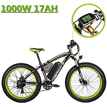 eBike_RICHBIT 022 Bicicleta eléctrica Fat Tire neumático Bicicleta Cruiser Ciclismo 1000W 48V 17AH Mountain E Bike,Verde-Negro