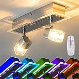 Deckenspot Wissau 2-flammig mit blauem Lichtspiel & Fernbedienung für Wohnzimmer - Schlafzimmer - Flur - Kinderzimmer - Büro