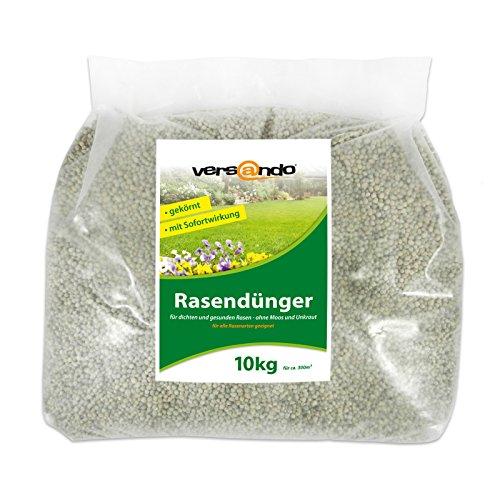 Ab nur 1,29 € / Kg - Versando Rasendünger 10 Kg für ca. 300m² sattgrünen Rasen - ohne Moos und Unkraut, NPK-Dünger mit Sofortwirkung