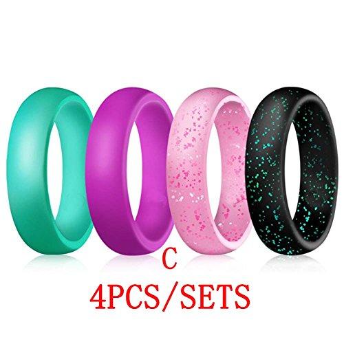 Globents Silikonringe/Eheringe für Frauen im Freien, aktives Training, 4 Stück -