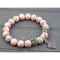 Armband rosa rekonstituierten türkis Perlen und Charms förmigen Stift mit Swarovski-Kristallen