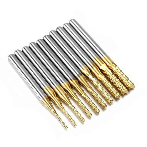 3 mm PCB Bohrer Set CNC Fräser Hartmetall Schaftfräser Gravierstichel, 1/8 '' Shank für Holzbearbeitung/Weichmetalle ()
