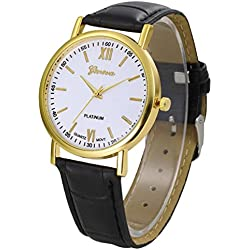WINWINTOM Roman Numerals Faux Leather Analog Quartz Wrist Watch Black