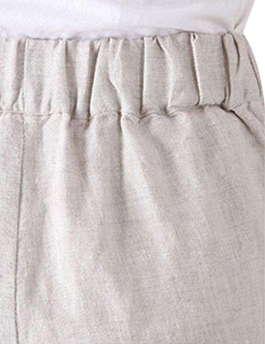Youlee Frauen-elastische Taillen-Leinen Haremshose Beige