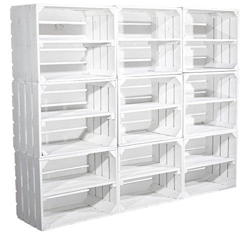 9er Set weiße Kiste für Schuhregal und Bücherregal - neu massiv und stabil - shabby chic look -...