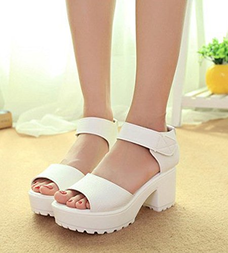 Minetom Femme Été Open-toe Chaussons Bohemian Cuir Sandales Sangle Sandals Espadrilles Talon Compensé Bride Boucle Plateforme Blanc