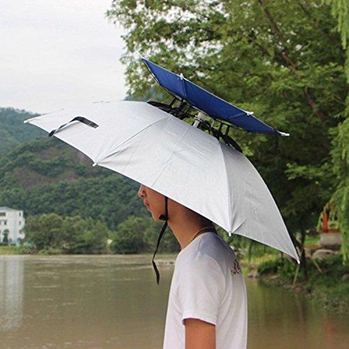 SUMCHIMAMZUK 2 Schicht Angelschirm Regenschirm UV-Schutz Sonnenschirm Umbrella Hut Silber