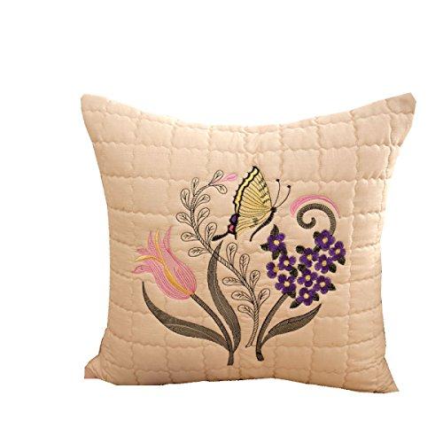 Jiu Bu 20 * 20 Pouces Motif De Fleurs De Papillon Oreiller Lombaire en Tissu Coton Broderie Décoration De La Maison,F-20 * 20Inches