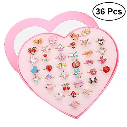 TOYMYTOY Los anillos ajustables chispean con la caja de presentación de la forma del corazón para los favores de la fiesta de cumpleaños de los niños, 36pcs