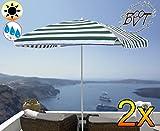 2x Premium Parasol de balcon 180x 120cm, parasol vert/blanc/Mega XXL forme de Marché, parasol, Carré,/8baleines massif robuste, plage parasol pliant de, auvent/toit Protection solaire, XXL, extrêmement résistant aux intempéries, pliable, portable, seewasserfest, Haute Qualité Robuste stable, protection solaire, stable Parasol pliant parapluie, blanc/vert–blanc naturel, parasol de plage parasol, tables de parasol, parapluie de pique-nique