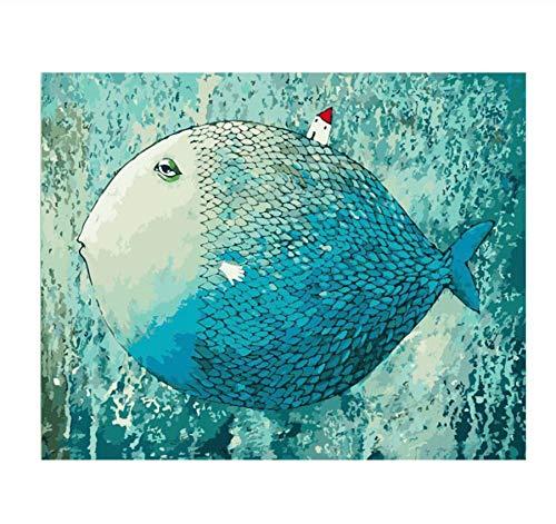 Malen Nach Zahlen Schlafen Fisch Tier Diy Digitale Moderne Wandkunst Leinwand Malerei Weihnachten Einzigartiges Geschenk Wohnkultur 40X50 Cm
