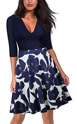 Spec4Y Damen Langarm V-Ausschnitt Blumen Kleider Skaterkleid Cocktailkleid A Linie Knielang Blau M