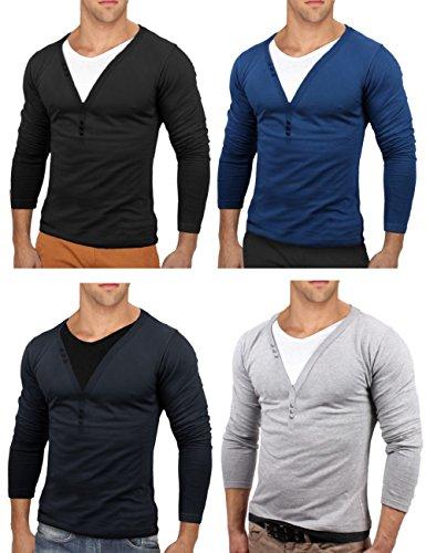 Bents & Mood Herren Slim Fit Longsleeve V-Neck Sweatshirt T-Shirt BM24 Hellgrau
